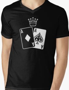 Poker Cards with Crown Mens V-Neck T-Shirt