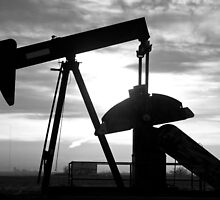Oil Well Pump Jack Black and White by Bo Insogna