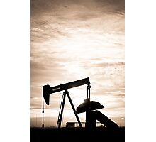 Rustic Oil Well Pump Vertical Sepia Photographic Print