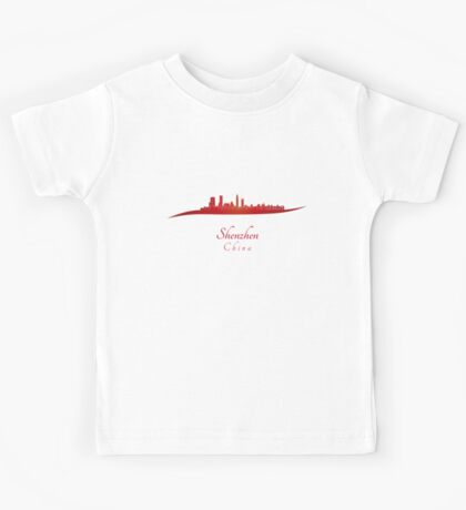 Shenzhen skyline in red Kids Tee