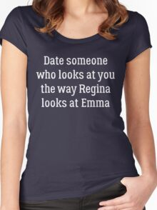 Date Someone Who - Swan Queen Women's Fitted Scoop T-Shirt