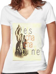 LET'S CHA CHA, 50'S LATIN CHEESECAKE ALBUM COVER Women's Fitted V-Neck T-Shirt