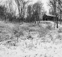 Winter Barn 1 - Black and White by mcstory