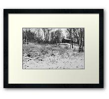 Winter Barn 1 - Black and White Framed Print
