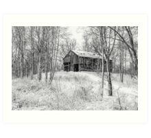Winter Barn 2 - Black and White Art Print