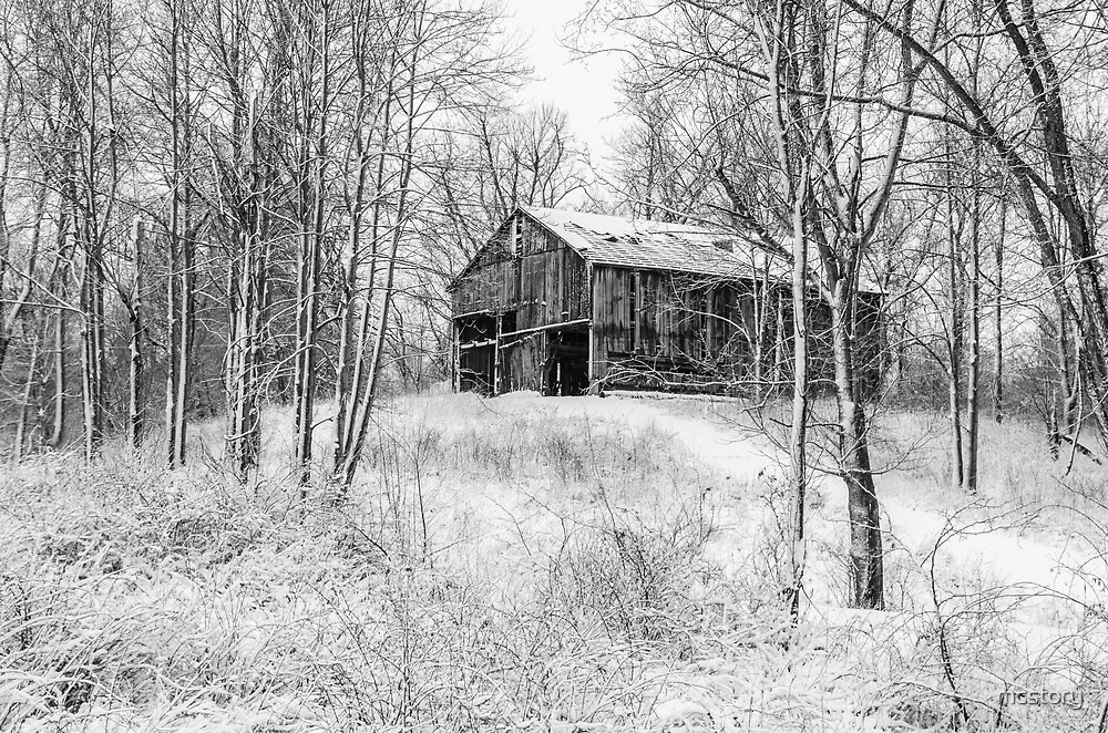 Winter Barn 2 - Black and White by mcstory