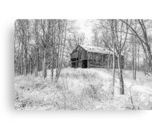 Winter Barn 2 - Black and White Metal Print
