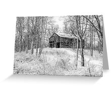 Winter Barn 2 - Black and White Greeting Card