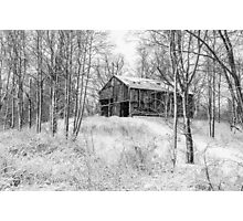Winter Barn 2 - Black and White Photographic Print