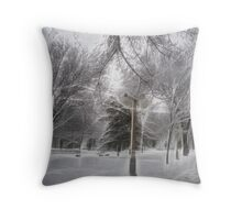 Snow-covered Path in a Scenic Park Throw Pillow