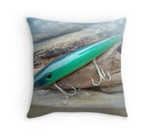 AJS Green Swimmer Flaptail Saltwater Lure Throw Pillow