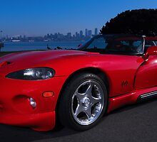 Red Dodge Viper at Alki Beach by mcdesign