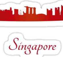 Singapore skyline in red Sticker