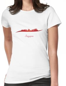 Singapore skyline in red Womens Fitted T-Shirt