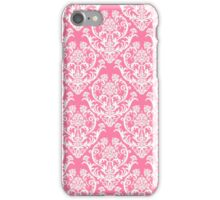 Pink and White Damask Pattern iPhone Case/Skin
