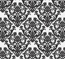 White and Black Damask Pattern by Heidi Hermes