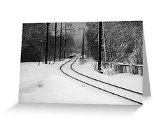 February Snowstorm on Tracks Greeting Card