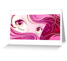 Pink Manga Eyes Greeting Card
