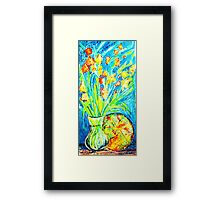 Yellow- Orange Orchids with Bird & Plate Framed Print