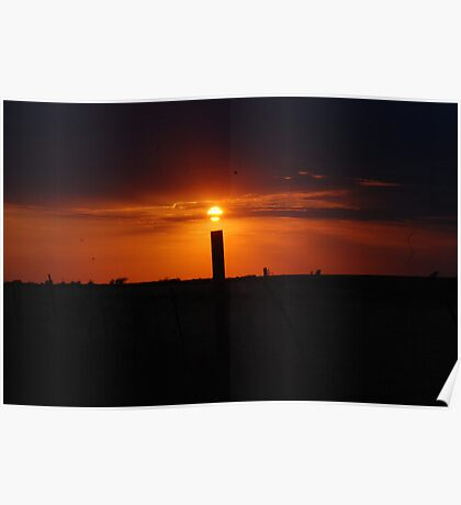 Sunset and Silo Poster