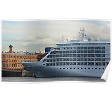 Silver Whisper Rests along English Embankment Poster