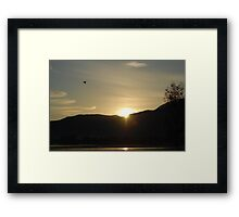 Sunrise with Pelican Framed Print