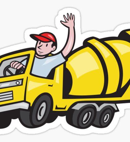 Construction Worker Driver Cement Mixer Truck  Sticker