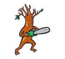 Tree Man Arborist With Chainsaw by patrimonio