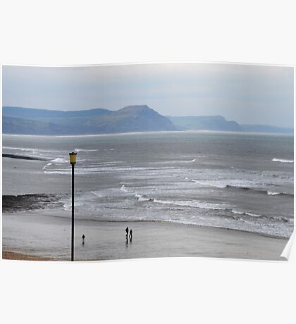 Walking Past Lucys Ledge- Lyme.Dorset UK Poster