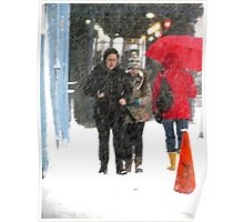 Snowy day in the city  Poster