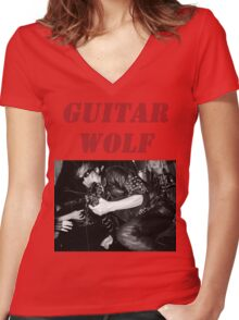 GUITAR WOLF 01 Women's Fitted V-Neck T-Shirt