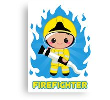 Cute Fire Fighter Yellow Canvas Print
