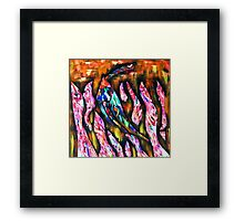 Fish hiding in pink fronds Framed Print