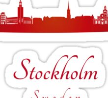 Stockholm skyline in red Sticker