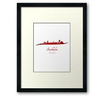 Stockholm skyline in red Framed Print