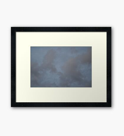 Dark Blue Sky And White Clouds Against Night Sky 2 Framed Print