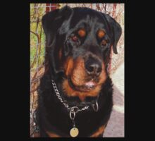 Mature Male Rottweiler Portrait One Piece - Short Sleeve