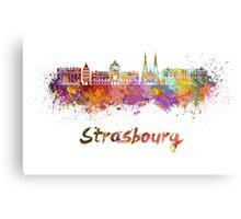 Strasbourg skyline in watercolor Canvas Print