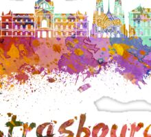 Strasbourg skyline in watercolor Sticker