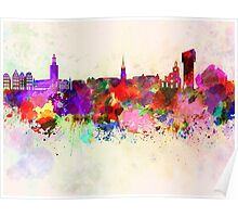 Stockholm skyline in watercolor background Poster