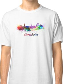 Stockholm skyline in watercolor Classic T-Shirt
