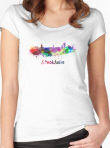 Stockholm skyline in watercolor Women's Fitted Scoop T-Shirt