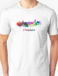 Stockholm skyline in watercolor Unisex T-Shirt