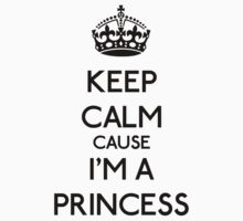 Keep Calm cause I'm a Princess (Black) Kids Clothes
