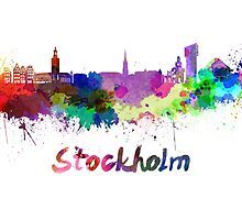 Stockholm skyline in watercolor by paulrommer