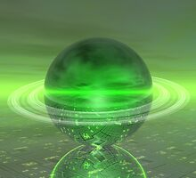 Electronic Green Saturn by Phil Perkins