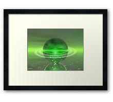 Electronic Green Saturn Framed Print