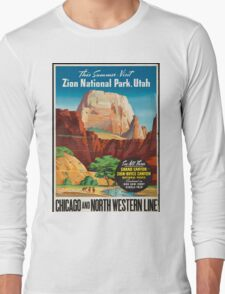 Vintage Travel Poster: Zion National Park Long Sleeve T-Shirt