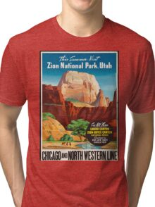 Vintage Travel Poster: Zion National Park Tri-blend T-Shirt