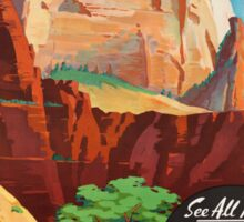 Vintage Travel Poster: Zion National Park Sticker